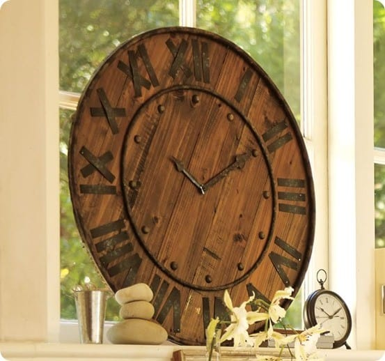Pottery Barn Rustic Wood and Metal Clock
