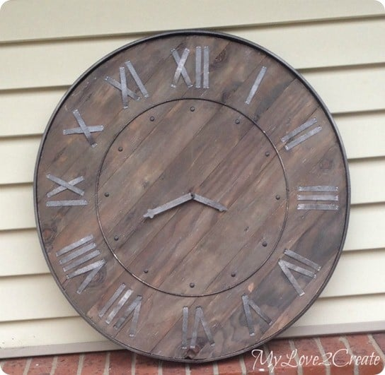 Pottery Barn inspired Wood and Metal Wall Clock
