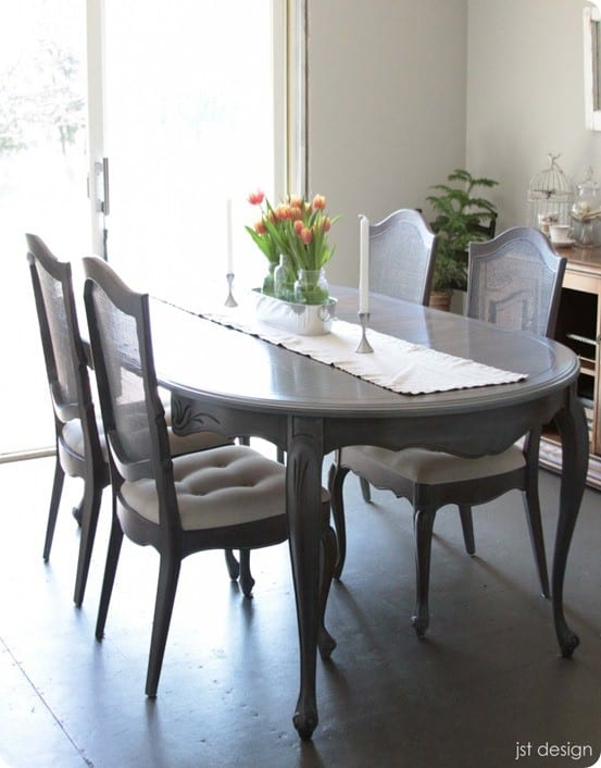 Restoration Hardware inspired dining room table makeover