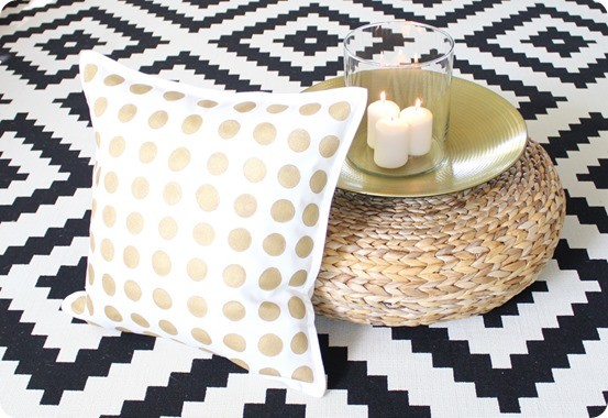 Anthropologie Knock Off Gold Dot Pillow