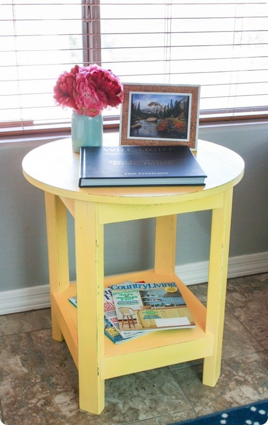 Round Yellow Side Table - Pottery barn round side table