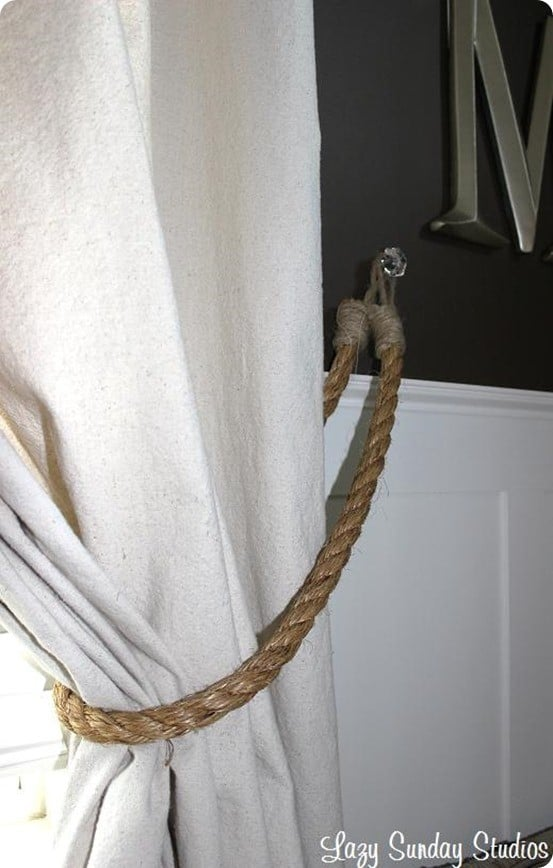DIY Home Decor ~ Rope Curtain Tiebacks