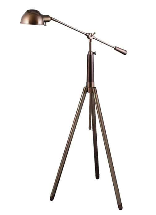 Lighting Enterprises Adjustable-Arm Pharmacy Floor Lamp, Antiqued Brass