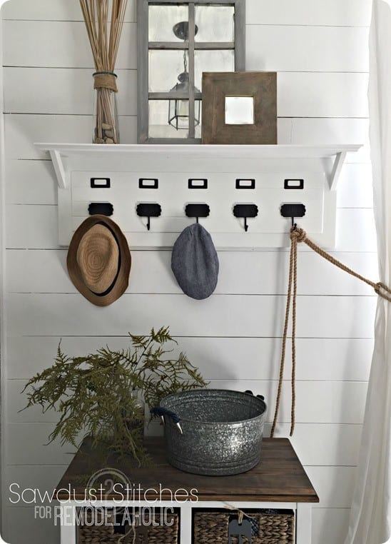 Pottery Barn Inspired Entryway Organizer