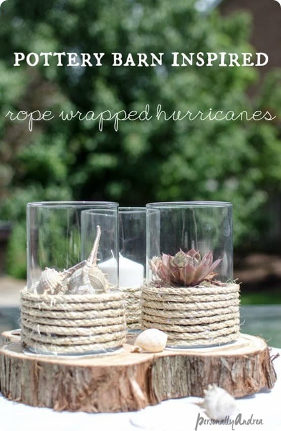 Pottery Barn Knock Off Rope Hurricane Candle Holders