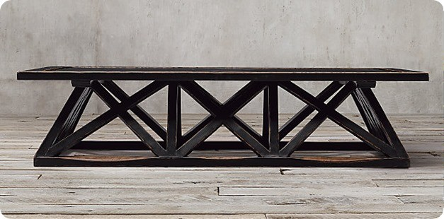 Restoration Hardware Trestle Door Coffee Table