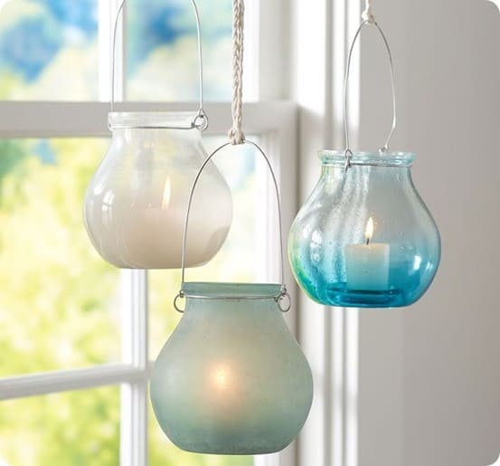 Sea Glass Hanging Votives from Pottery Barn
