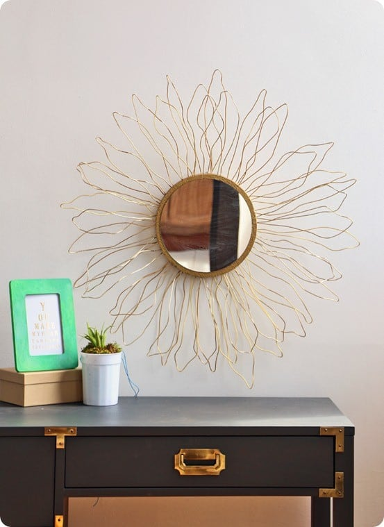 Anthropologie Knock Off Gold Sunburst Mirror