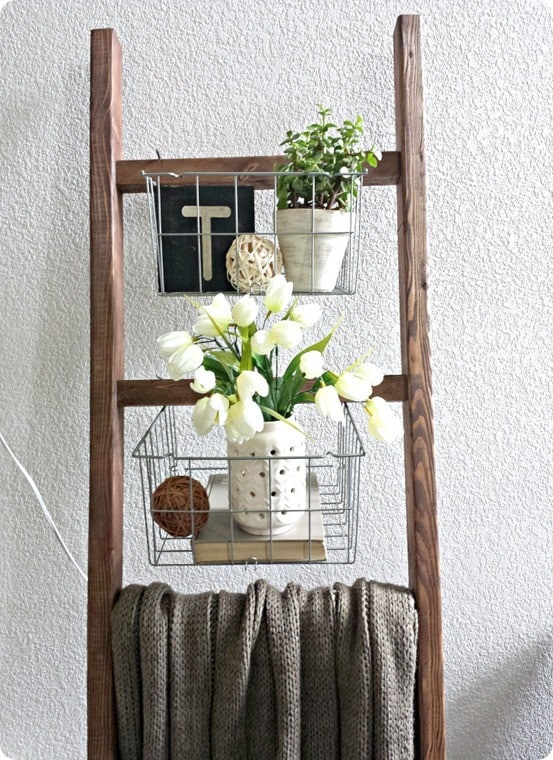 blanket ladder with wire baskets