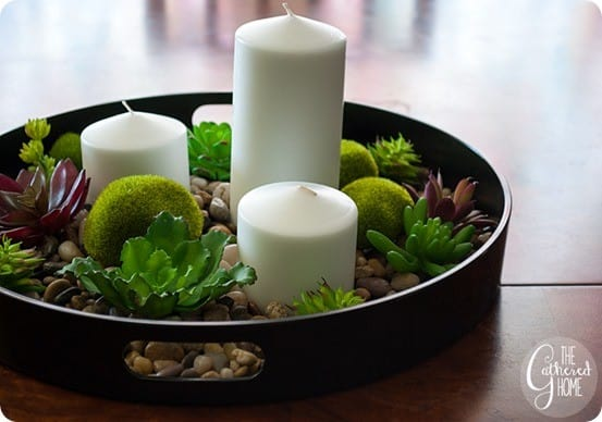 DIY Home Decor ~ Candle Centerpiece with Succulents