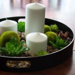 Candle Centerpiece with Rocks and Succulents