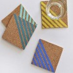 Colorful Painted Stripe Coasters