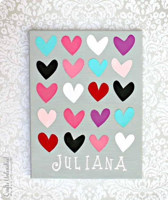 DIY Wall Art ~ Personalized Heart Canvas