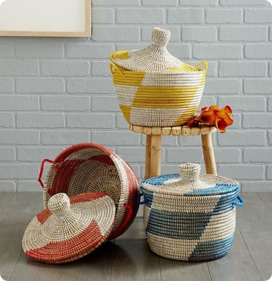 Graphic Printed Warming Baskets from West Elm