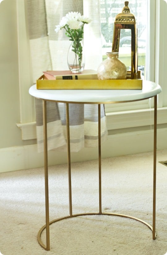 One Kings Lane Knock Off Gold and White Accent Table