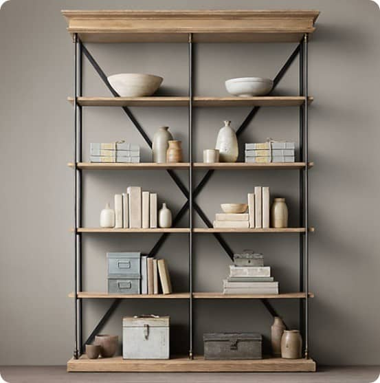 Restoration Hardware Shelf with Fabric Books