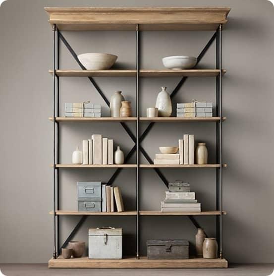 Restoration Hardware Shelf with Fabric Books