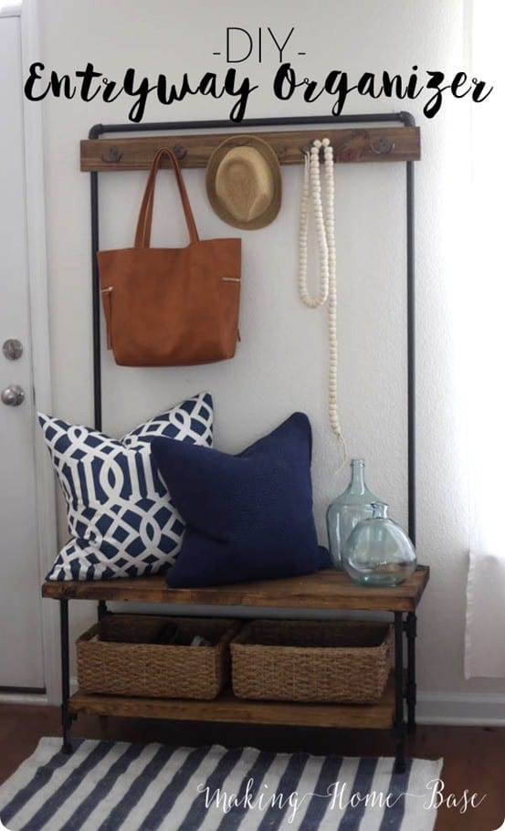Wood And Pipe Entryway Organizer Knockoffdecor Com