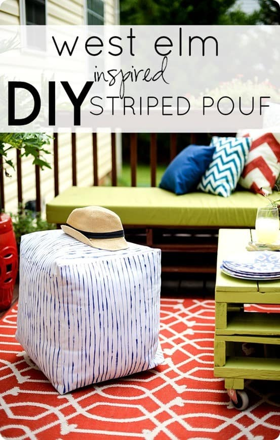 Striped Outdoor Pouf Knockoffdecor Com