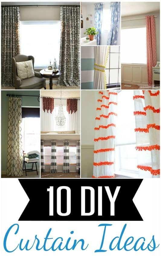 10 DIY Curtain Ideas | Tired of hunting for the perfect curtains? Make your own with these ten creative DIY curtain ideas inspired by Pottery Barn, Anthropologie, and more!