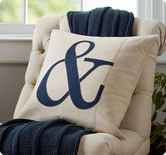 Ampersand Applique Pillow Cover from Pottery Barn