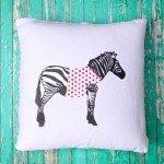 Upcycled T-Shirt Zebra Pillow