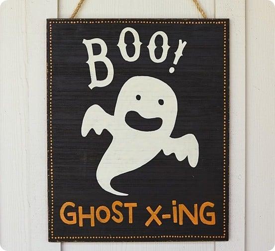Boo Ghost Crossing Halloween Sign
