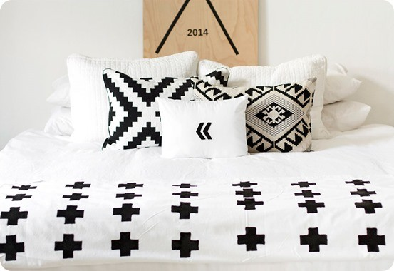 DIY Home Decor | Black and White Plus Sign Throw ~ Make a graphic statement on your bed with this knock off plus sign throw that costs $20 to make!