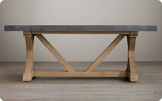 concrete rectangular dining table