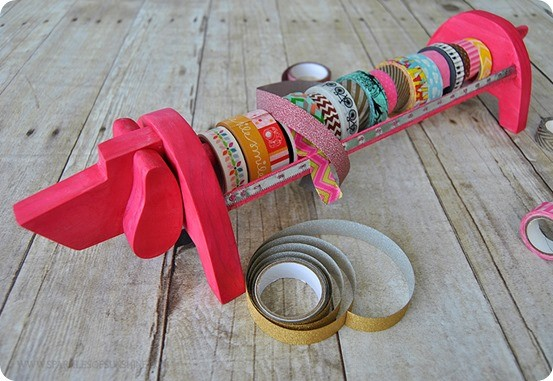 DIY Craft Ideas | Anthropologie Inspired Washi Tape Dispenser ~ How adorable is this washi tape holder made from a piece of scrap wood? Love it!