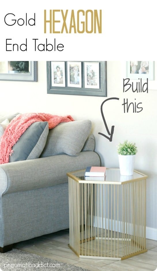 DIY Furniture ~ Gold Hexagon End Table