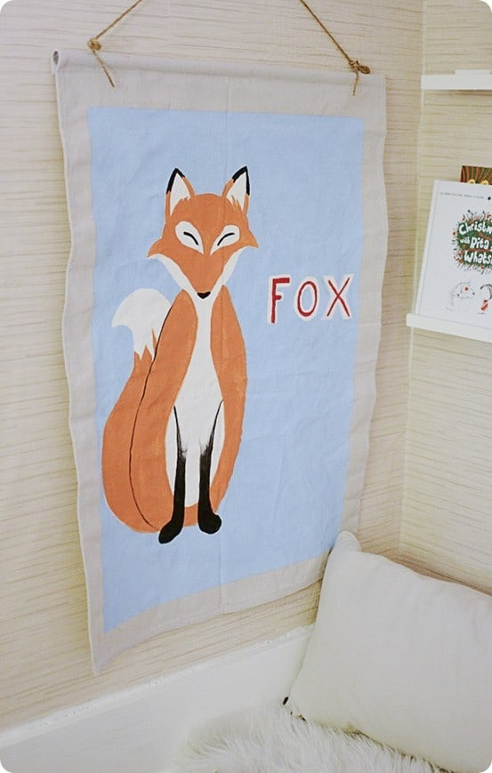 DIY Wall Decor | Painted Fox Banner inspired by Land of Nod ~ This adorable nursery art was made from a piece of drop cloth and a wooden dowel!