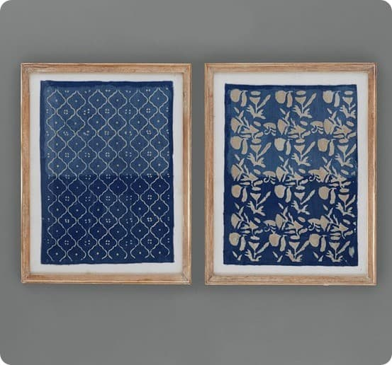framed blue textile art from pottery barn