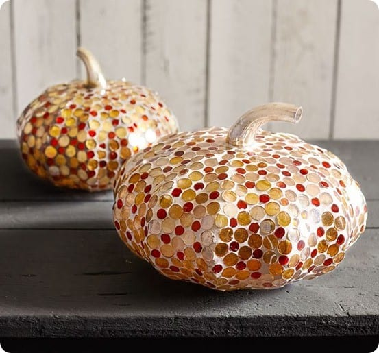 Mercury Mirror & Grout Pumpkins from Pottery Barn