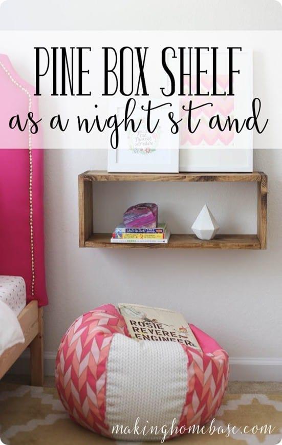 Pine Box Shelf Nightstand