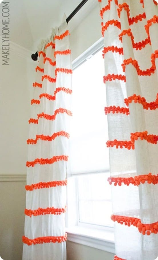 DIY Home Decor | Pom Pom Trim Curtains