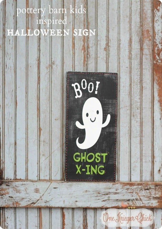 Halloween Decoration Ideas | Pottery Barn Kids Knock Off Ghost Sign ~ Grab a piece of scrap wood and some paint to make this adorable sign for Halloween!
