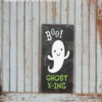 """Boo"" Ghost Crossing Halloween Sign"
