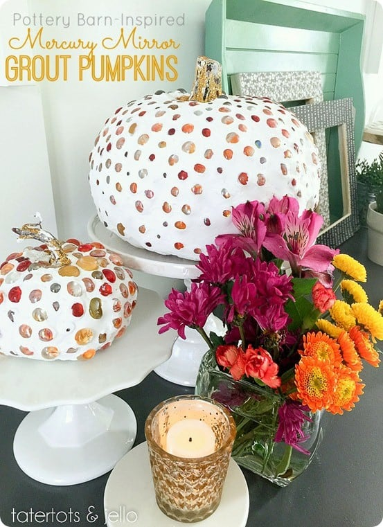 Fall Decorating Ideas | Turn a craft pumpkin or ugly pumpkin from the dollar store into a Pottery Barn knock off with grout and colorful stones, glitter, etc!