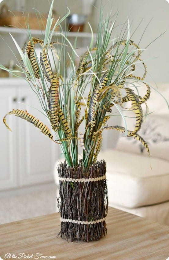 Pottery Barn Knock Off Pheasant Feather Bundle | Create this eye catching fall centerpiece using a few supplies from the craft store!
