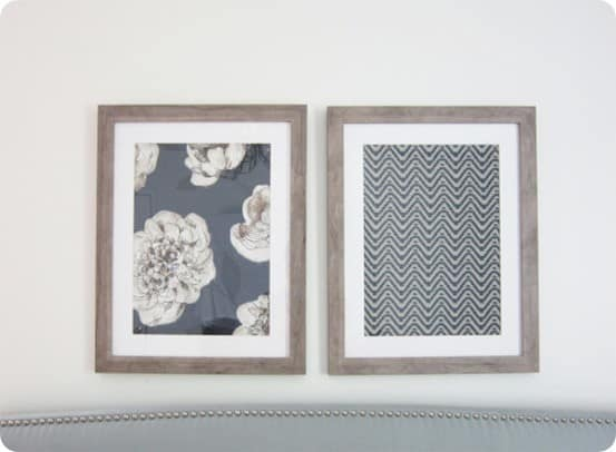 Stunning DIY Wall Art This is a genius idea to frame large fabric samples to knock