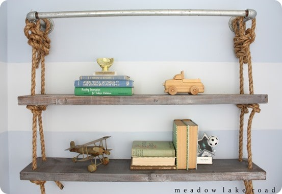 DIY Home Decor | Restoration Hardware Knock Off Rope and Pipe Shelves ~ I love the all the textures combined into these DIY wall shelves!