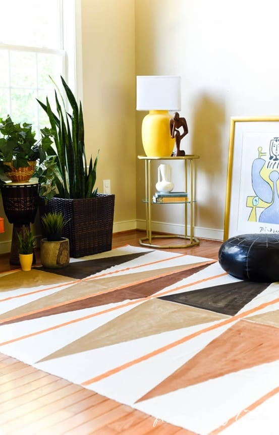 West Elm Knock Off Painted Drop Cloth Rug