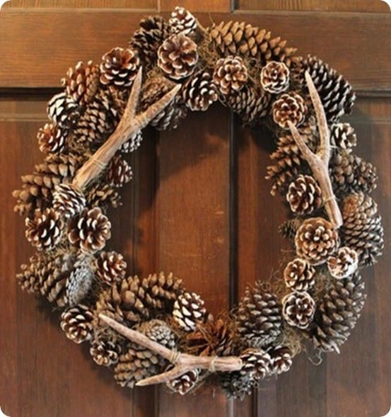 pinecone and antler wreath