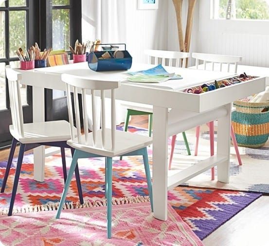 Kids Art Table With Paper Roll And Storage