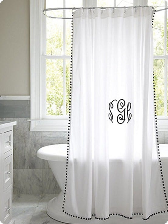 Ballard Design's Audree Pom Pom Shower Curtain