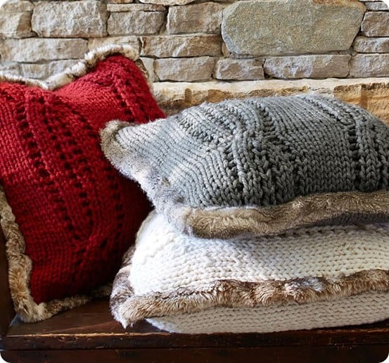 Cozy Fur Trimmed Sweater Pillows