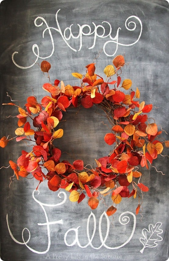 DIY Fall Crafts | This Crate & Barrel knock off leaf wreath is simple to make in only 15 minutes!