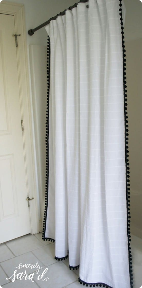 Pom pom shower curtain with hot glue Bathroom decor ideas with shower curtain