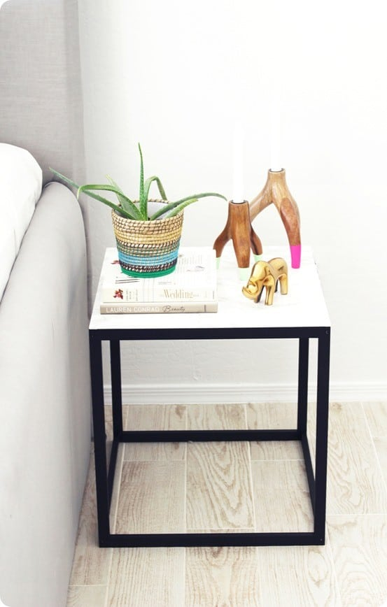 DIY Home Decor ~ I love this IKEA hack side table made to look like marble with contact paper. Brilliant!